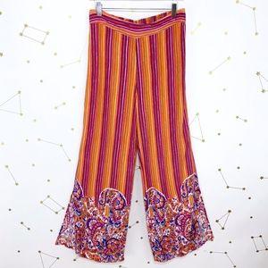 Anthro • Paisley Print Flannel Pajama Pants Orange